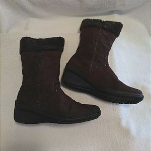 Shoes - Suede Boots w/Faux Fur, Chocolate Brn. - 6.5